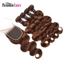 Fashion Lady Pre-colored Malaysian Bundles Hair With Closure Human Hair 4 Medium Brown Bodywave 4 Bundles with Closure Non-remy(China)