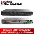 Híbrido 1080N AHD Segurança CCTV 32CH DVR Gravador de Vídeo Digital HD 1080 P NVR HVR 3 Em 1 Monitor de Rede, DVR Recorder P2P/Vista CMS