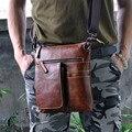 "Qualidade Real e Genuíno Couro Masculino saco do mensageiro do couro do vintage 9 ""Cross-corpo Shoulder bag 2138"