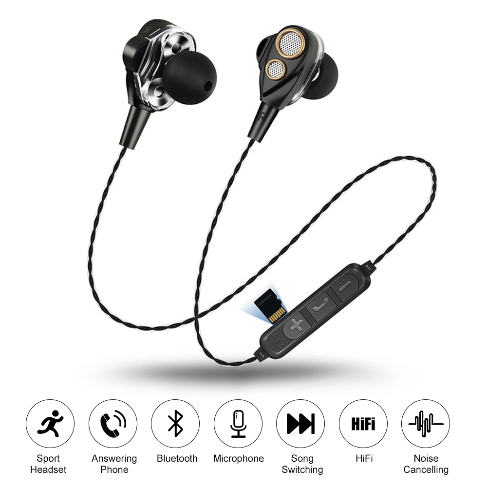 Four speakers 6D Stereo Heavy bass Sound Bluetooth Earphones Support TF card Sport Earphone Microphone Music Earbuds