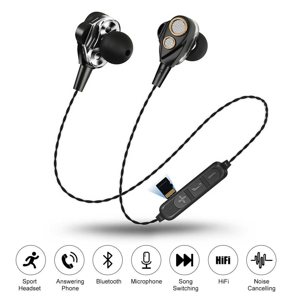 Four Speakers 6d Stereo Heavy Bass Sound Bluetooth Earphones Support Tf Card Sport Earphone Microphone Music Earbuds Aliexpress