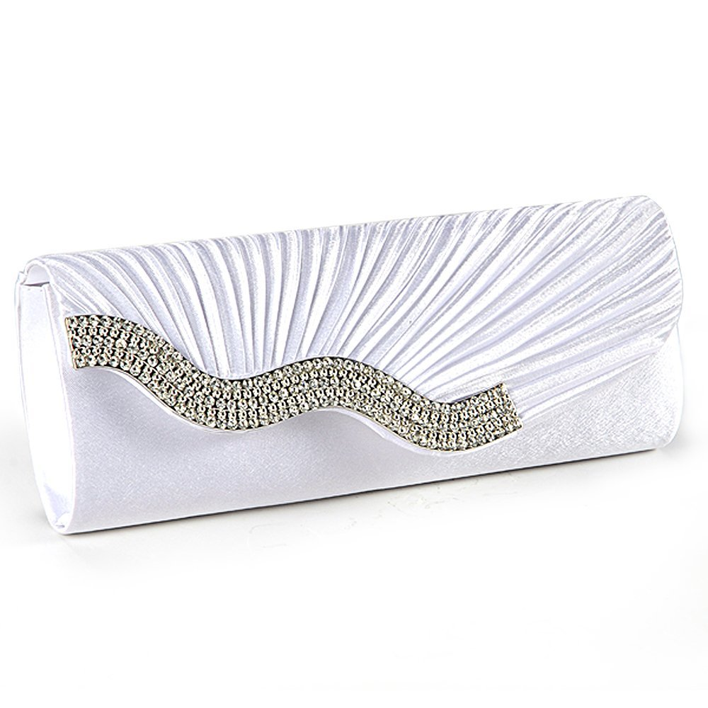 цена 5 Pcs of (Handbag Evening Clutch Wallet Fabric baguette Type Satin Pleated with Serti Waterfront Strass White Wedding, Ball) онлайн в 2017 году