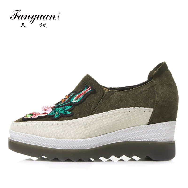 Fanyuan Casual Loafers Genuine Leather Platform Shoes Women Hand Embroidery Flat Shoes Woman Spring Autumn  Size 34-39 Flats 2016 new arrival woman flats genuine leather white women casual shoes platform hot sale designer flat shoes drop shipping