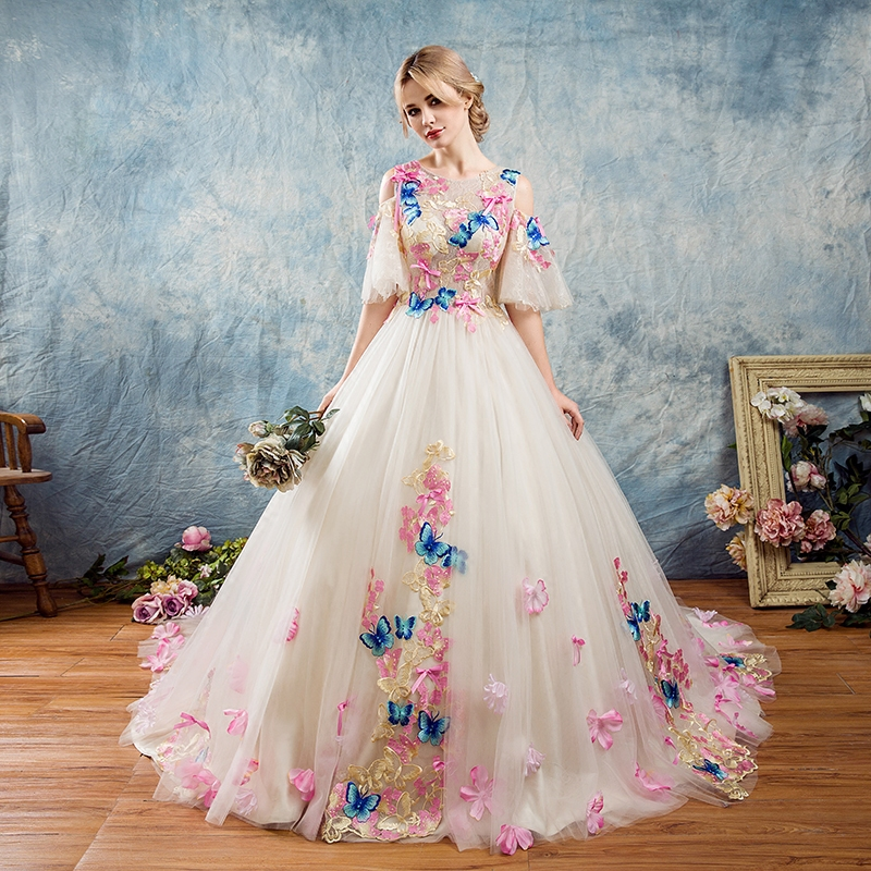AXJFU pink lace colorful Butterfly Evening dresses birthday parties princess ruffles bow embroidered Butterfly evening dress