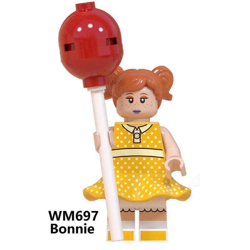 ของเล่น Story 4 Buzz Lightyear Woody Jessie Alien Ducky Bo Peep Bonnie Duke Caboom อาคารบล็อกตัวเลขภาพยนตร์ของเล่น WM6060