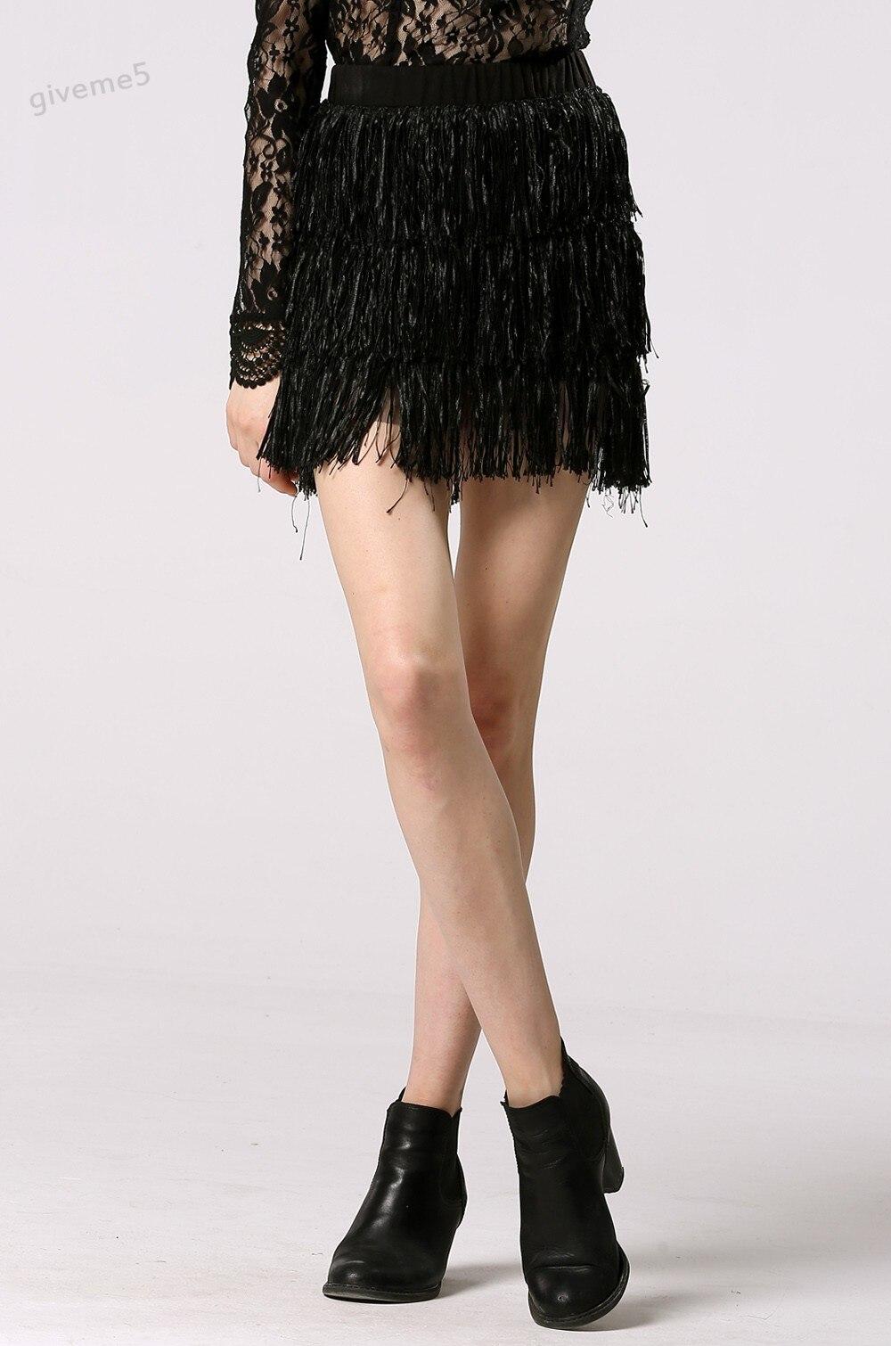780d3fb65 Fashion Women CLothing Tassel Decor Skirt Casual Multi-Layer Mini Skirt
