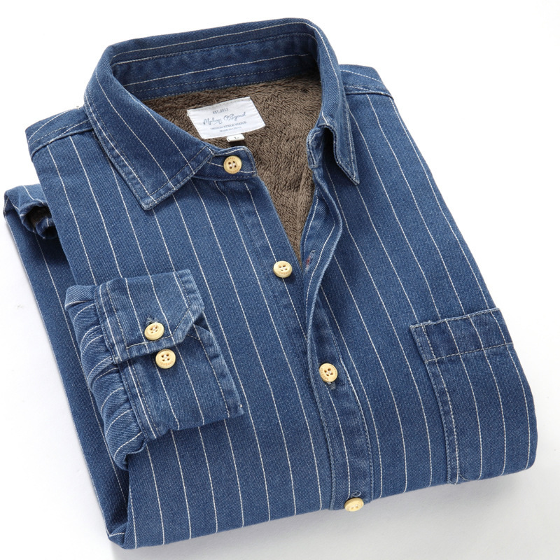 NestYu Men Stylish Solid Colored Thickened Fleece Button Longshirt