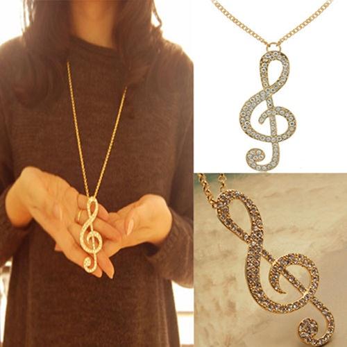 Fashion Women Rhinestone Music Note Rhythm Long Chain Sweater Necklace Pendant 6XNJ
