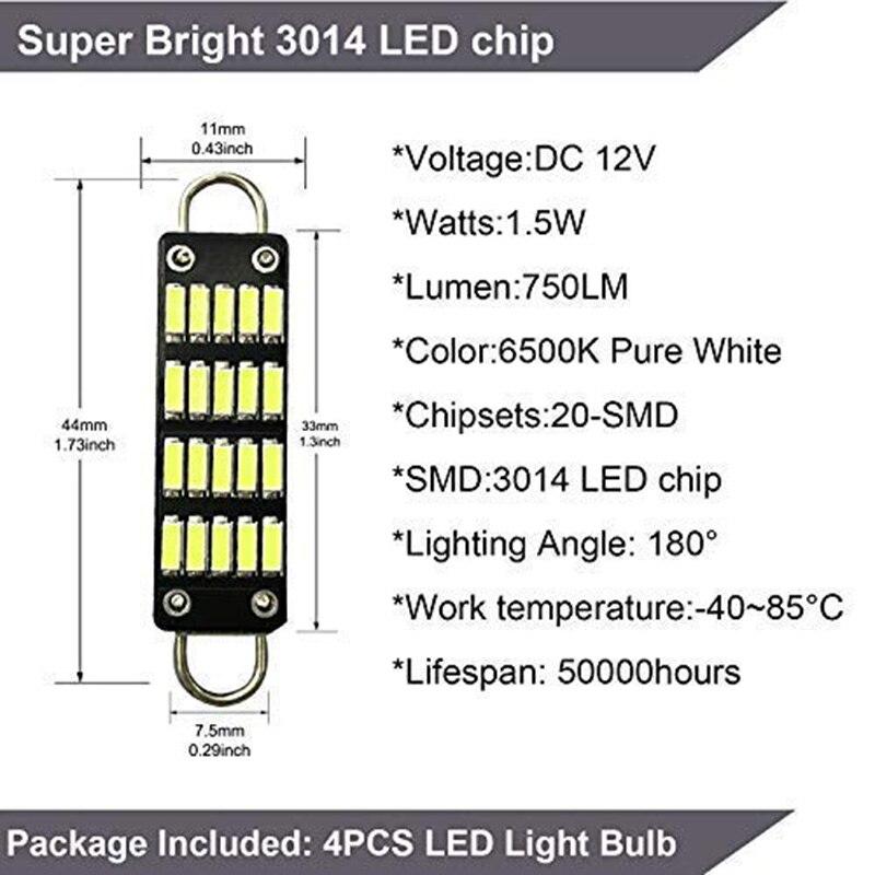 Лампы 44 мм Яркий белый гирлянда светодиодных ламп, 20 Smd жёлтый декоративный петля 1,73 дюймов укрыты внутренной сводной карта светодиодные фонари 561 562 567 564, набор из 4 шт