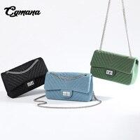 CGmana Для женщин сумка 2018 высокое качество сумки известный дизайнер для женщин сумка V узор цепи сумка джинсовая на плечо квадратная сумка