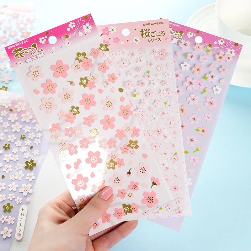 1 Sheet Romantic Cherry Blossoms DIY Stickers Decorative Scrapbooking Diary Album Stick Label Decor Craft