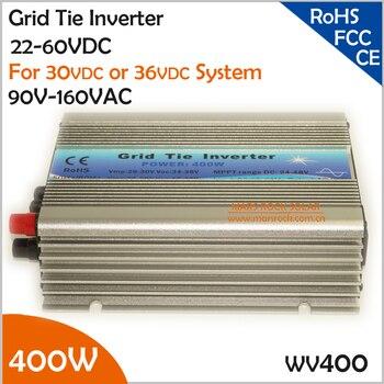 Inversor de conexión de rejilla 400 W, inversor de rango de voltaje de entrada ancho de 22-60VDC 90-140VAC para 60 celdas o 72 celdas panel solar