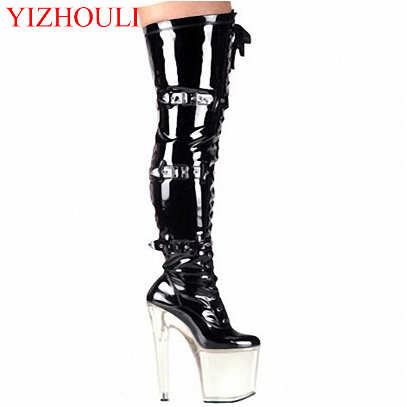 Ultra 20cm Over The Knee Sexy Boots Soft PU Leather Thigh High Boots Sexy High Heel Shoes Platform Crystal Shoes 20cm sexy ultra high heeled platform shoes performance shoes platform black pu leather single shoes 8 inch fashion crystal shoes
