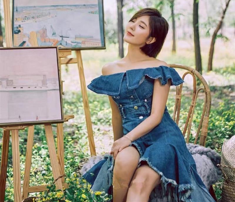 Ww Bleu 1580 Blouse 2018 Sexy Asymétrique D'été Wang Robe Hors L'épaule Whitney Streetwear Mode De Denim Femmes UVMSzqpG