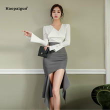 2 Piece Set Women Autumn Plus Size White Full Flare Sleeve V-neck Casual Top and Gray Asymmetrical Short Club Party Skirt Ladies цена 2017