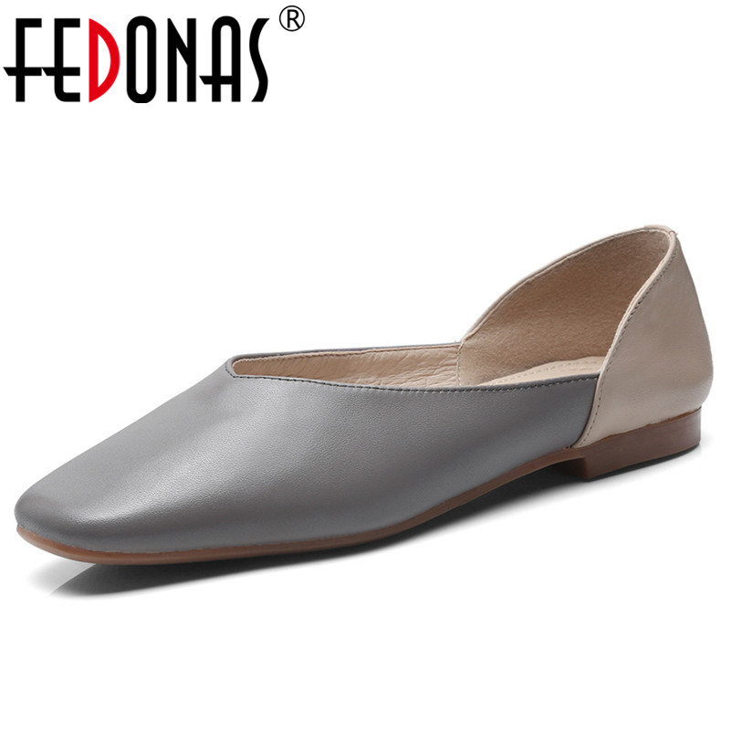 FEDONAS 2019 New Slip On Flats Genuine Leather Shoes Woman Square Toe Fashion New Loafers Shoes Comfortable Female Flats Shoes