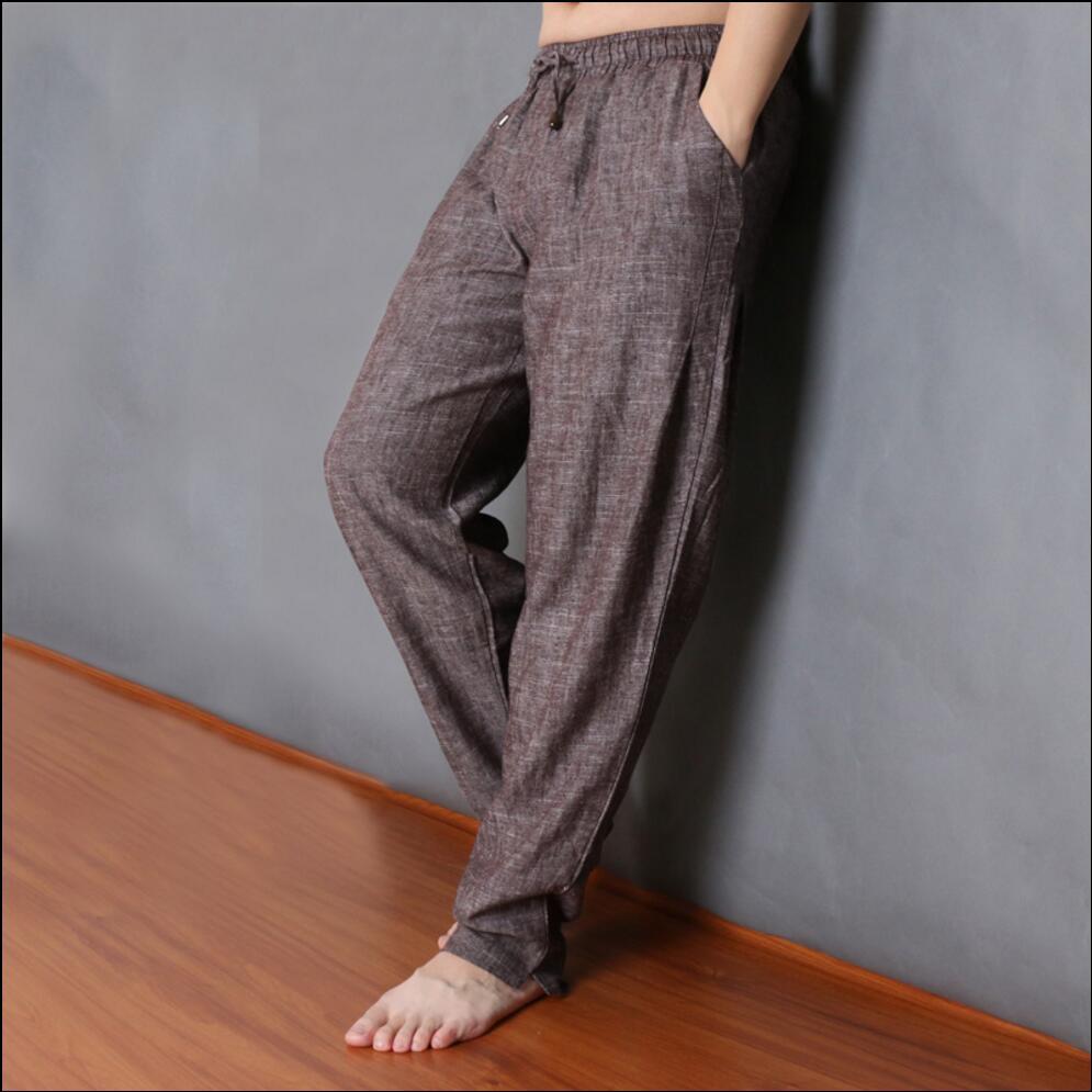 L-5XL Spring and summer vintage linen harem pants men fluid casual loose pants trousers plus size Elastic Waist Straight Pants plus size striped harem pants
