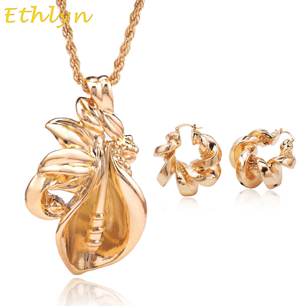 Ethlyn Unique Design Yellow Gold Color  Hoop Earrings & Big Pendant Nigerian Women Jewelry Sets Bridal Party  Accessories S212