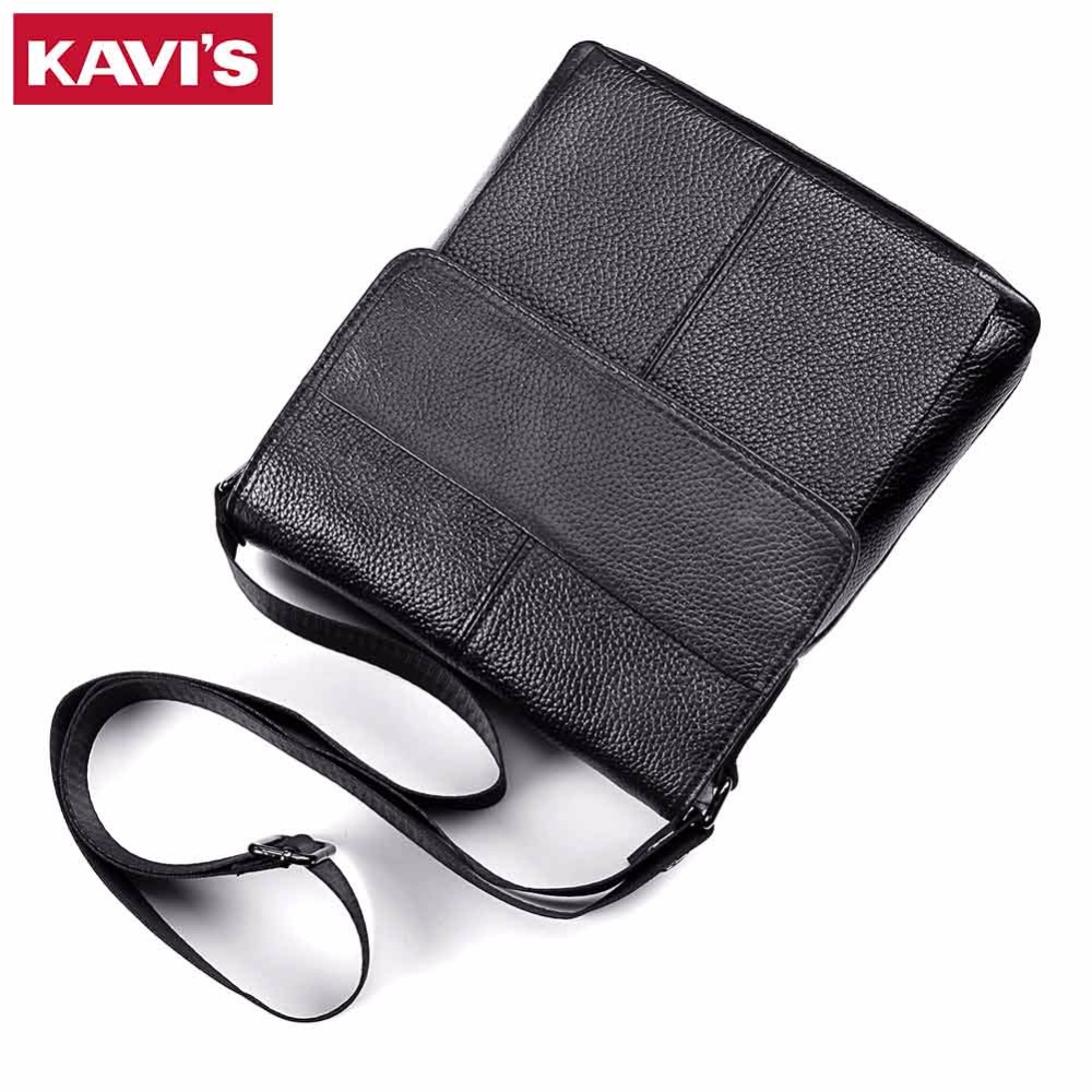 KAVIS Messenger Bag Mens Shoulder Bag Genuine Leather Black Handbag Bolsas Crossbody Sling Tote Chest Briefcase Male for Small