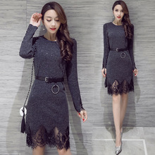 ФОТО 2018 summer autumn knitted dress for female casual party dresses long sleeve o-neck club dress with sexy lace