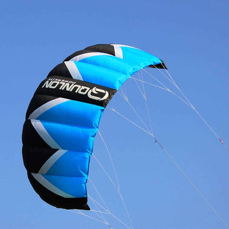 2Sqm Quad Lines Stunt Kite Traction Kite For Kiteboarding Kitesurfing Trainer Blue Color With 36cm Handle Flying Line