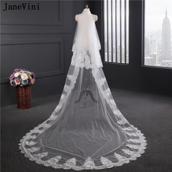 JaneVini Elegant White/Ivory Cathedral Wedding Veils with Comb Two Layers Lace Appliques Edge Tulle 3M Long Wedding Accessories