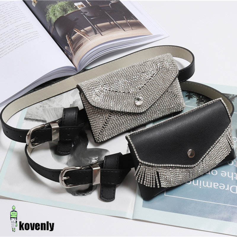 Fashion Waist Pack Women PU Leather Fanny Pack  Diamonds Belt Phone Pouch Waist Bag Female Messenger Bags  Hip Bag 126