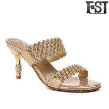 купить FSJ Sandals Women Shoes Genuine Leather Cow Leather Flat With High Heel Buckle Strap Thin Heels Fashion Crystal EU Size 33-41 по цене 2930.23 рублей