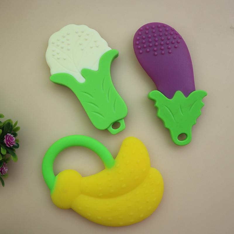 새로운 아기 Teethers 어린이 실리콘 장난감 아이 딸랑이 만화 Teether 과일 모양 실리콘 훈련 유아 유아 사랑스러운 1 개
