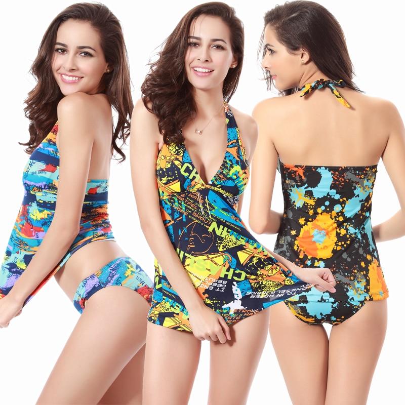 Hot Sale Tankinis Women 2019 Vintage Print 2 Piece Swimsuits Triangle Top Removable Pad Large Swimwear Tankini Set
