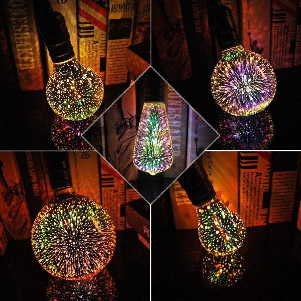 3D Led Étoiles Ampoule E27 Vintage Edison Lumière de Nuit Coloré Bombillas Rétro Verre Lampara Ampoule De Noël Home Decor feu d'artifice RVB