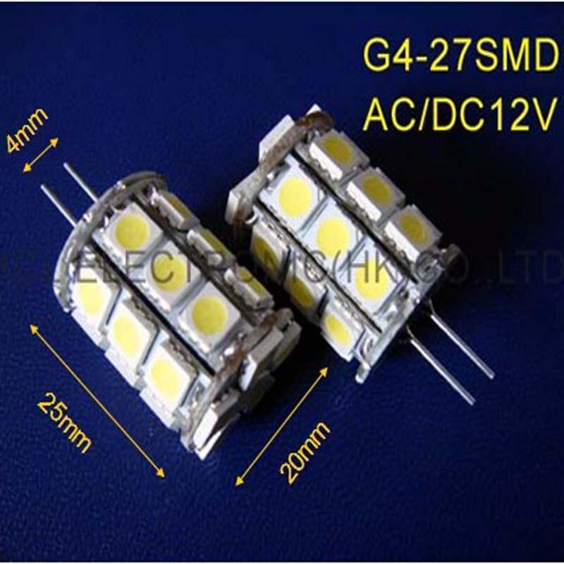 Высокое качество переменного тока/DC12V G4 свет 27smd 5050 3 фишки 12vac G4 светодиодных ламп( 20 шт./лот