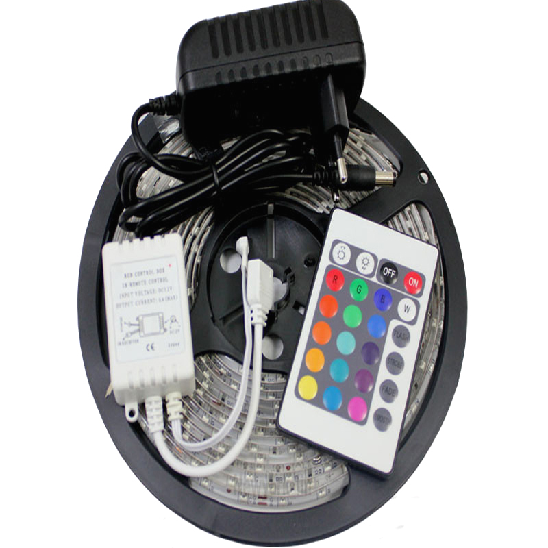 Waterproof 3528 RGB Led Strip LED Light 60led/m 5M 300 LED SMD DC 12V+ 2A Power Supply + IR Remote Control