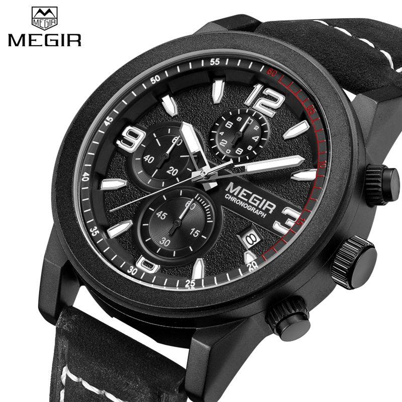Prix pour Megir hommes de casual montres chronographe et lumineux gravé cadran noir en cuir hommes quartz-montre