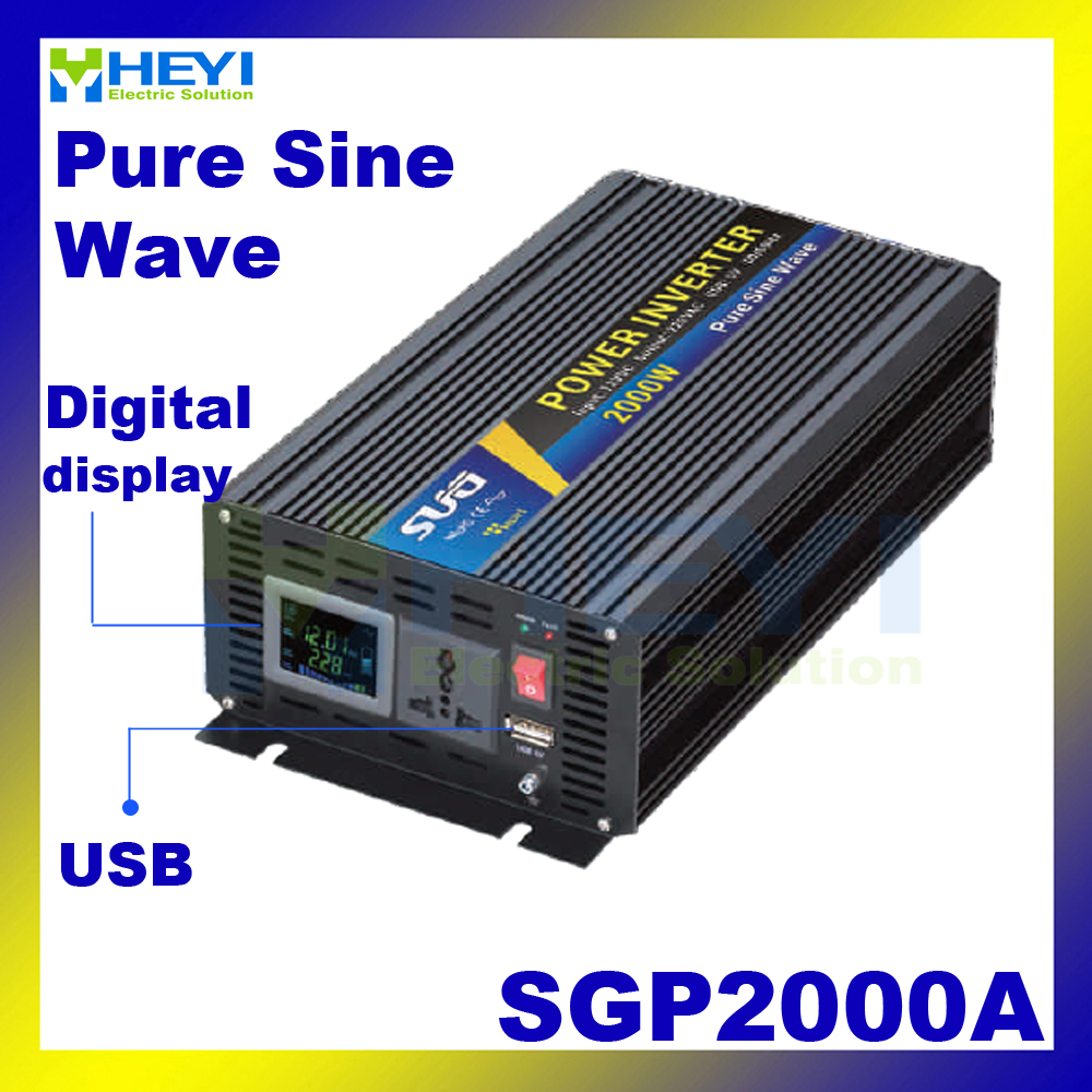 цена на New Smart Series Pure Sine Wave Inverter 2000W with USB input 12VDC 24VDC 48VDC output 110VAC 220VAC solar grid tie inverter