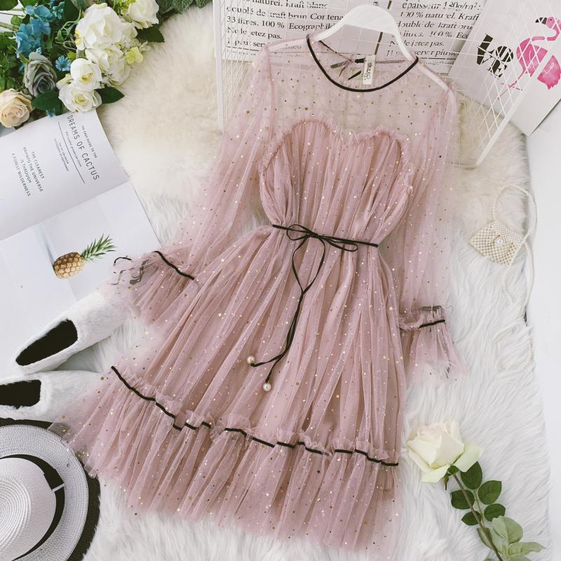 HISUMA spring autumn new women Star sequins gauze flare sleeve lace-up Princess dress female elegant o-neck mesh puff dresses 23