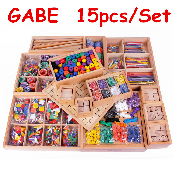 Froebel Baby Toys 15Pcs/Set GABE Wooden Toys Free Shipping Teaching Toy Educational Early Development Child Gift 32 pcs setcolor changed diy jigsaw toys wooden children educational toys baby play tive junior tangram learning set