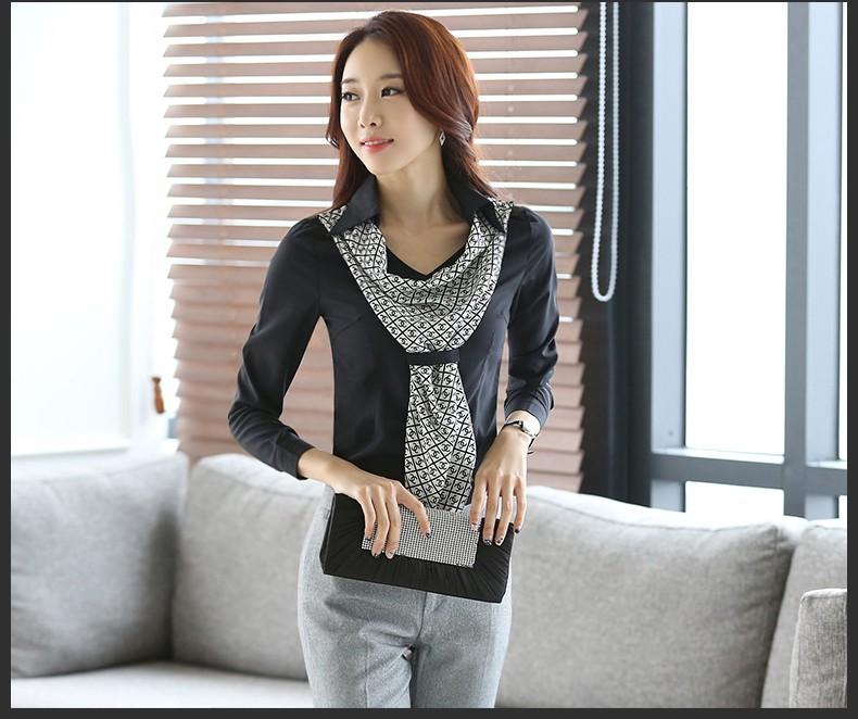 HTB1gkSxJpXXXXcEXXXXq6xXFXXXa - Women's shirt slim formal scarf collar long-sleeve blouses