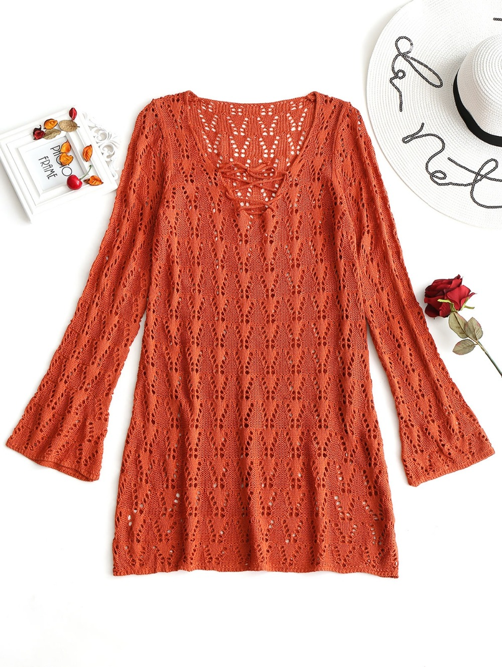 Women Bathing Suit Covers Dreses V Neck Crochet Cover-up Dress Long Sleeves Lace up Solid Hollow Out Female Beach Mini Dress