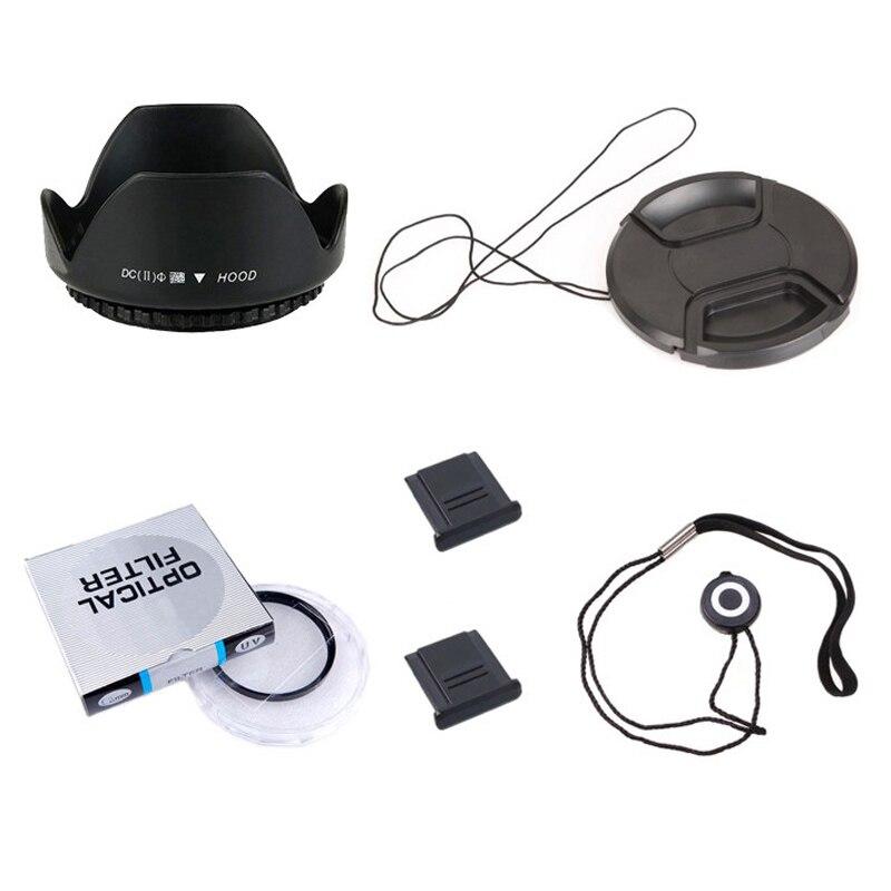 Lens Cap line 8 in1 49 52 55 58 62 67 72 77 82mm UV Filter Lens Hood Clothes ND UV CPL Filter 67mm Metal Lens Hood Cap Cover 2 hot Shoe