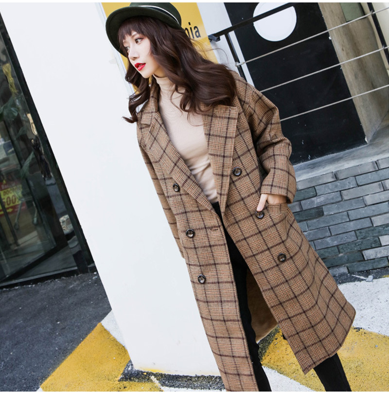 Winter Check Velvet Coat Female Notched Warm checkered Woolen Women's Coats Fleece Office Lady 19 Vintage Long Overcoat Woman 6