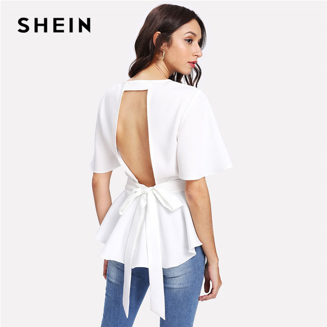 60bdb2f779138a SHEIN Bow Tie Belted Cutout Back Peplum Top Women White Round Neck Short Sleeve  Backless Plain Blouse 2018 Elegant Party Blouse