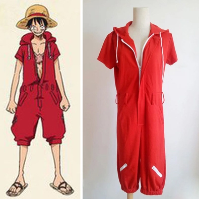 Anime One Piece Monkey D Luffy Red Hooded Jumpsuits Uniforms Cosplay Costumes Summer Style Plus Size Unisex Clothing
