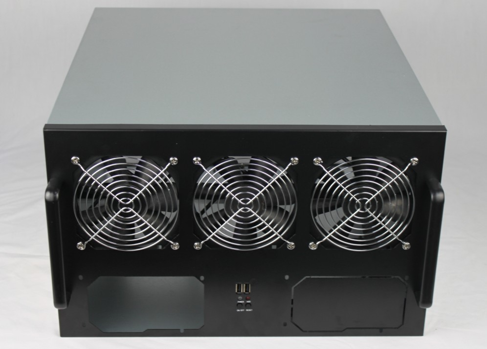 Multi GPU Computer case 6U470MM Support 6 Pcs lengthen graphics card double ATX power supply many