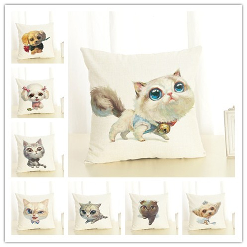 Hot Selling Cat  And  Dog   Linen Cotton Square Retro Floral Home - Home Textile