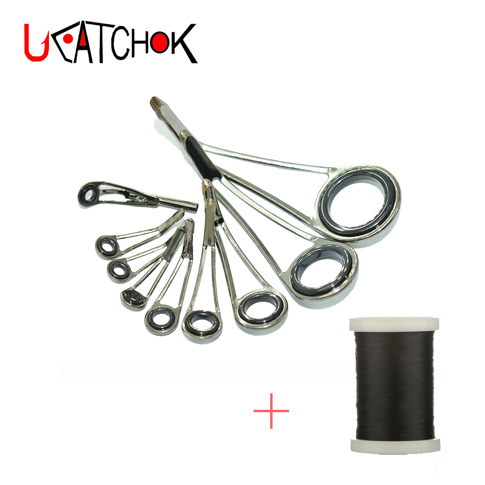 9pcs/Kit Rock Trout Fishing Rod Guides Ultra Light Weight High Legs Stainless Steel Guide Ring Rod DIY Repair Refit Re-assembly