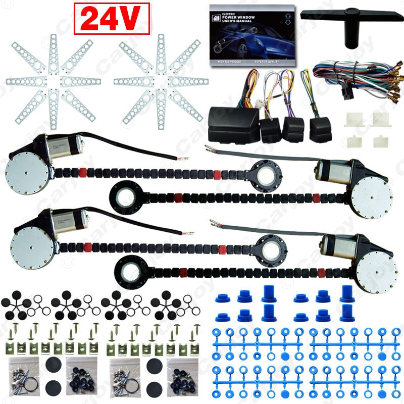 DC24V Car/Truck Universal 4 Doors Electronice Power Window kits With 8pcs/Set Swithces & Harness  #CA4498