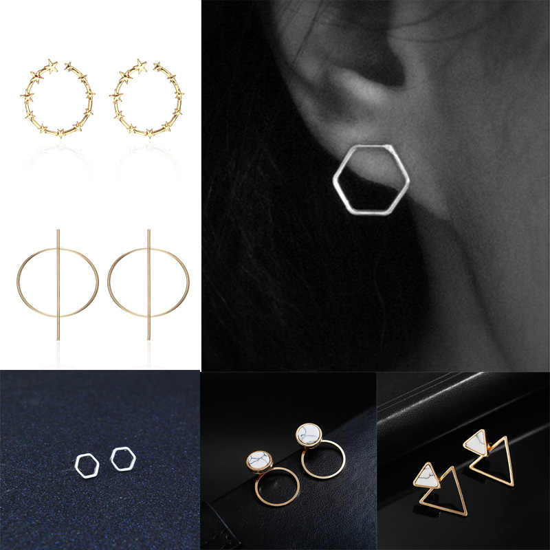 Classical Geometric Earrings For Women Stone Stud Earrings Silver Gold Round Triangle Circle Earrings Female Small Brincos Gifts