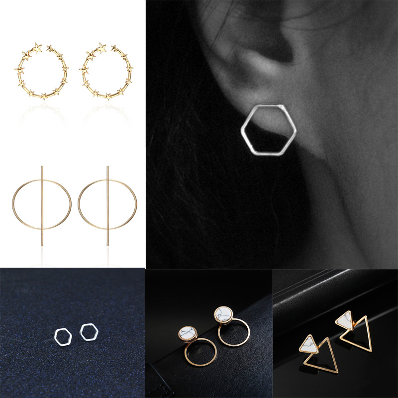 Classical Geometric Earrings For Women Stone Stud Earrings Silver Gold Round Triangle Circle Earrings Female Small Brincos Gifts gold earrings for women