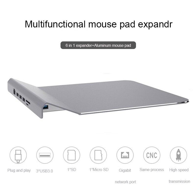 Ingelon 6 Dans 1 USB HUB D'accueil avec SD/micro Sd + 3 * usb3.0 + rj45 À Multi -fonction En Alliage D'aluminium Tapis de Souris USB-c Hub pour Macbook